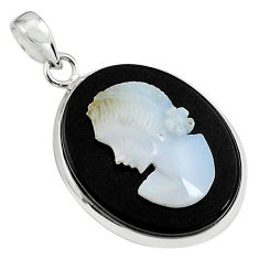16.30cts lady face natural opal cameo on black onyx 925 silver pendant p79114