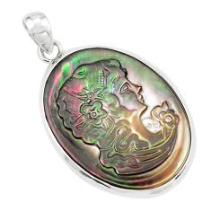 16.73cts lady face natural titanium cameo on shell 925 silver pendant p80186
