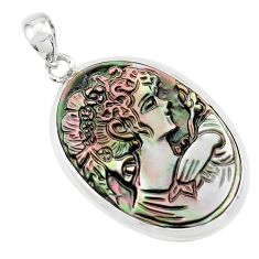 15.65cts lady face natural titanium cameo on shell 925 silver pendant p80209