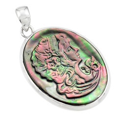 15.08cts lady face natural titanium cameo on shell 925 silver pendant p80213