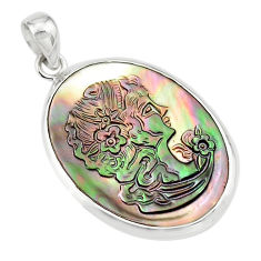 15.08cts lady face natural titanium cameo on shell 925 silver pendant p80215