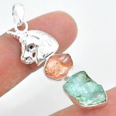 11.19ct natural aquamarine rough rose quartz raw silver unicorn pendant t33689