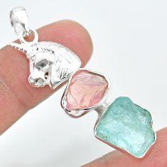 12.04ct natural aquamarine rough rose quartz raw silver unicorn pendant t33686