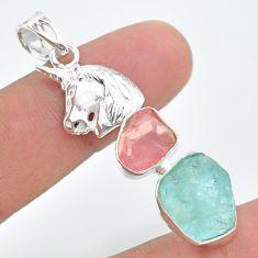 13.34ct natural aquamarine rough rose quartz raw silver unicorn pendant t33683