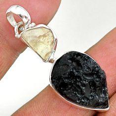 13.70ct natural black libyan desert glass gold tektite 925 silver pendant t14227