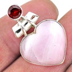 14.68ct natural lace agate garnet 925 sterling silver heart pendant t13216
