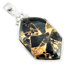 14.79ct mother of pearl golden black obsidian 925 sterling silver pendant r81090
