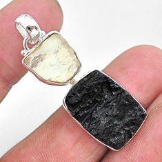 15.08ct natural black libyan desert glass gold tektite 925 silver pendant t14238