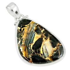 15.26ct mother of pearl golden black obsidian 925 sterling silver pendant r81099