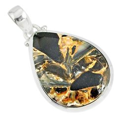 15.31ct mother of pearl golden black obsidian 925 sterling silver pendant r81093