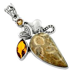 18.86ct natural fossil coral (agatized) petoskey stone 925 silver pendant r44525