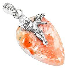 19.61c orange scolecite high vibration crystal silver cupid angel pendant r90820