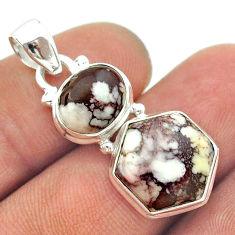 10.31cts 2 stone bronze wild horse magnesite 925 silver hexagon pendant t55181