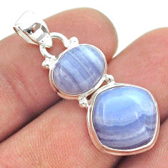 10.80cts 2 stone natural blue lace agate 925 sterling silver pendant t55175