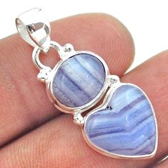 9.18cts 2 stone natural blue lace agate heart 925 silver pendant jewelry t55169