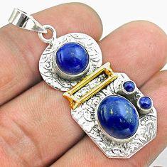 7.51cts 2 stone natural blue lapis lazuli 925 silver 14k gold pendant t55648