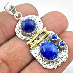 7.22cts 2 stone natural blue lapis lazuli 925 silver 14k gold pendant t55653