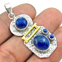 7.51cts 2 stone natural blue lapis lazuli 925 silver 14k gold pendant t55677