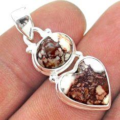 9.16cts 2 stone natural bronze wild horse magnesite 925 silver pendant t55149