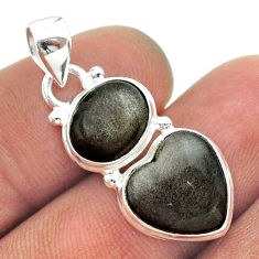 8.77cts 2 stone natural golden sheen black obsidian 925 silver pendant t55192