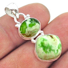 7.93cts 2 stone natural green chrome chalcedony 925 silver pendant t55171