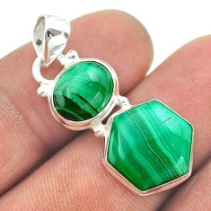 10.84cts 2 stone natural green malachite 925 silver pendant jewelry t55151