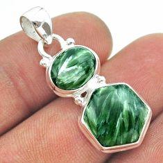 9.59cts 2 stone natural green seraphinite (russian) 925 silver pendant t55143