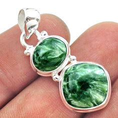 10.02cts 2 stone natural green seraphinite (russian) 925 silver pendant t55178
