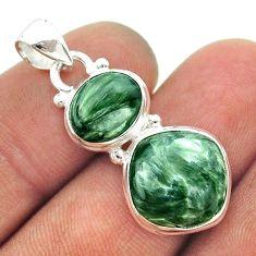9.59cts 2 stone natural green seraphinite (russian) 925 silver pendant t55196