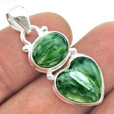 8.73cts 2 stone natural green seraphinite (russian) 925 silver pendant t55201