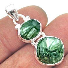 10.32cts 2 stone natural green seraphinite (russian) 925 silver pendant t55223
