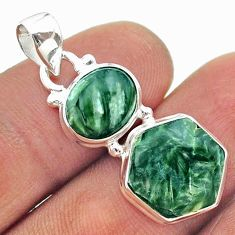 9.61cts 2 stone natural green seraphinite 925 silver hexagon pendant t55170
