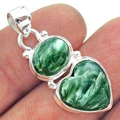 9.59cts 2 stone natural green seraphinite heart 925 silver pendant t55166