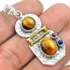 7.74cts 2 stone natural tiger's eye garnet 925 silver 14k gold pendant t55642
