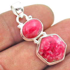 9.98cts 2 stone pink thulite (unionite, pink zoisite) 925 silver pendant t55154