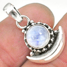 2.44ct natural rainbow moonstone 925 sterling silver moon pendant jewelry r89614