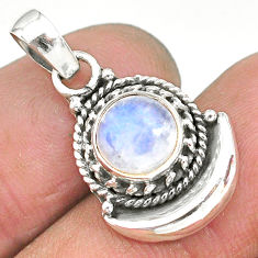 2.56ct natural rainbow moonstone 925 sterling silver moon pendant jewelry r89613
