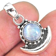 2.76ct natural rainbow moonstone 925 sterling silver moon pendant jewelry r89559