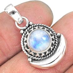 2.76ct natural rainbow moonstone 925 sterling silver moon pendant jewelry r89594