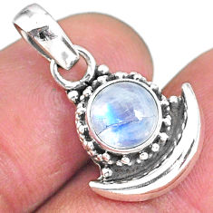 2.88ct natural rainbow moonstone 925 sterling silver moon pendant jewelry r89558