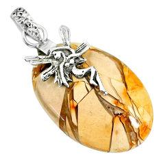 21.18ct brecciated mookaite (jasper) 925 silver angel wings fairy pendant r91232