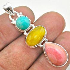 12.96cts 3 stone amber bone peruvian amazonite opal 925 silver pendant t55023