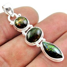 10.27cts 3 stone natural ammolite (canadian) 925 silver pendant jewelry t54942