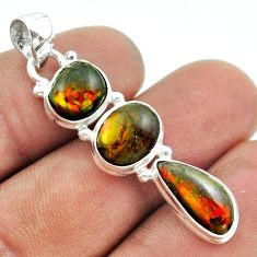 10.71cts 3 stone natural ammolite (canadian) 925 silver pendant jewelry t54947