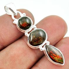 10.71cts 3 stone natural ammolite (canadian) 925 silver pendant jewelry t54952