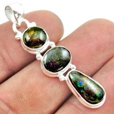 10.21cts 3 stone natural ammolite (canadian) 925 silver pendant jewelry t54990