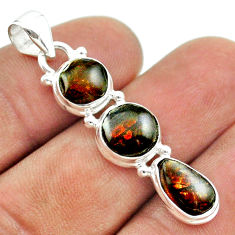 8.87cts 3 stone natural ammolite (canadian) 925 silver pendant jewelry t54992