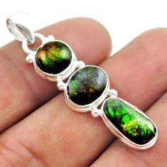 10.32cts 3 stone natural ammolite (canadian) 925 silver pendant jewelry t54996