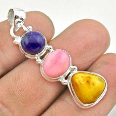 11.57cts 3 stone natural yellow amber bone charoite opal silver pendant t55002