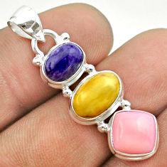 10.30cts 3 stone natural yellow amber bone charoite opal silver pendant t55028